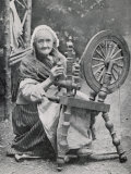 An Old Irishwoman at Her Spinning-Wheel Photographic Print by W. Lawrence