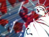 Statue of Liberty with Symbolic Stars and Stripes in the Background Photographic Print