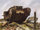 WWI, at Cambrai British Tanks Smash Through the Hindenburg Line Photographic Print