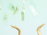 Hands Grabbing Money Photographic Print