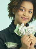 Woman Holding Money Photographic Print