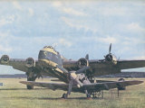 Messerschmitt 109 Poses Before the British Short Stirling Bomber It Brought Down Photographic Print by  Hubmann