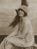 Asta Nielsen Danish Actress of Stage and Screen Wearing a Cloche Hat with an Enormous Feather Photographic Print