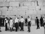 Jewish Men in Various Modes of Traditional Dress at the Wailing Wall in Jerusalem Photographic Print