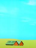 Red Barns in Yellow Field Fotografie-Druck