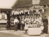 Fine Display of Meat Displayed Outside a Butcher&#39;s Shop Photographic Print