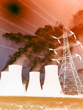 Electrical Wires in Front of Smoke Stacks Polluting the Sky Photographic Print
