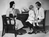 Mother Takes Her Little Girl to a Female Doctor for a Routine Examination Photographic Print