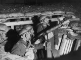Three Soldiers in a Pit Wearing Gas Masks with an Anti-Aircraft Lewis Gun Photographic Print