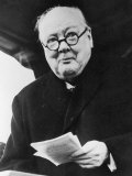 Winston Churchill British Prime Minister in Later Life Reading a Letter Photographic Print