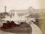 An Exterior View of the Crystal Palace at Sydenham with a Large Fountain in the Foreground Photographic Print