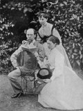 Charles Dickens with Daughters, Giclee Print