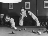 Snooker Player Prepares to Play a Shot as His Partner Looks On Photographic Print