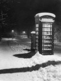 Night Study after a Fall of Snow Showing a Telephone Kiosk Photographic Print