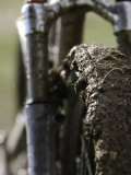 A Muddy Mountain Bike Tire, Mt. Bike Stampe di David D'angelo