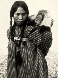 Woman from an American Indian Tribe with a Baby Resting in a Basket on Her Back Photographic Print