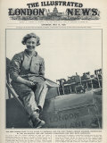 Miss Amy Johnson Overhauling Her Gypsy Moth Aeroplane after Landing in Australia Photographic Print