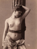 Portrait of a Naked Young Woman with a Braid of Hair Around Her Hips Photographic Print