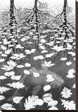 Three Worlds Stretched Canvas Print by M. C. Escher