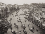 View from Above of the Grand Canal in Venice During a Historical Regatta Photographic Print