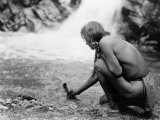 An Offering at the Waterfall, Nambe Indian Posters by Edward S. Curtis