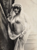 A Young Woman Posing Naked: a Veil Covers Her Hair and Comes Down Her Body Photographic Print