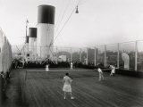 Tennis Match Played on the Games Deck of the German Transatlantic Liner 'Cap Arcona' Photographie