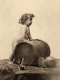 Portrait of a Nude Child in Front of a Wine Cask Lámina fotográfica