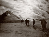 A Group of Mountaineers Tied Together on Perrot Point, the High Snow-Covered Peak of Monte Rosa Photographic Print