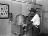 """Colored"" Water Cooler in Streetcar Terminal, Oklahoma City, Oklahoma Photo by Russell Lee"