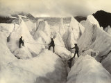 Three Alpinists on the Serac of the Low Part of Bossons Glacier Photographic Print