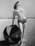 Windswept Young Lady Wearing Shorts and a Stripey Dolman Photographic Print by Charles Woof