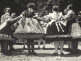 Traditional Dance Scene with Ladies Wearing Hungarian Traditional Dresses Photographic Print