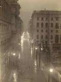 View of Via S. Antonio (Now Via Dante) in Trieste, with the Streetlamps Lit, on a Foggy Day Photographic Print