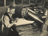 Printer in a Waistcoat with a Handlebar Moustache Checks His Printing Chase on the Chase Photographic Print