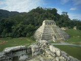 Mayan Ruins and Trees in Palenque, Mexico Photographic Print by Michael Brown