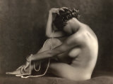 Portrait of a Young Nude Woman Sitting in Profile Photographic Print