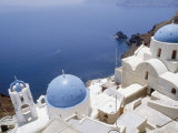 Churches with Blue Domes, on a Cliff Top Overlooking the Sea, at Ia (Oia) on Island of Santorini Photographic Print