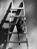 A Monkey on the Step of a Ladder Photographic Print