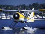 Float Plane Taxiing to Terminal on Lake Union, Washington, USA Photographic Print by William Sutton