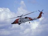 Flyguppvisning med helikopter från kustbevakningen på Seattle Maritime Festival, Washington, USA Fotografiskt tryck av William Sutton