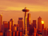 Seattle Skyline and Space Needle, Washington, USA Photographic Print by Terry Eggers