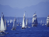 2002 Tall Ships Festival in Elliott Bay, Seattle, Washington, USA Photographic Print by William Sutton