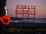 Neon Sign of Coffee Cup at Pike Place Market, Seattle, Washington, USA Photographic Print by Connie Ricca