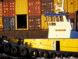 Tugboat and Container Barge, Duwamish River, Washington, USA Photographic Print by William Sutton
