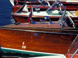 Vintage Wood Boats, Lake Union, Seattle, Washington, USA Fotografiskt tryck av William Sutton