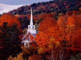 Charles Sleicher - Autumn Colors and First Baptist Church of South Londonderry, Vermont, USA Fotografická reprodukce