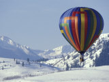 Hot Air Ballon and the North Cascade mountains, Methow Valley, Washington, USA Photographic Print by William Sutton