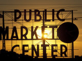 Public Market at Sunset, Seattle, Washington, USA Photographic Print by Paul Souders
