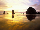 Needles and Haystack at Sunset, Cannon Beach, Oregon, USA Photographic Print by Darrell Gulin